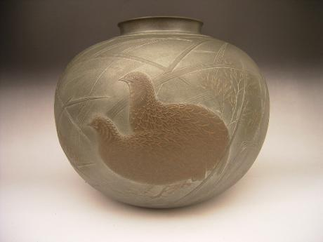 NEW ACQUISITION! JAPANESE 20TH CENTURY BRONZE QUAIL AND FLORAL DESIGN VASE BY SHIMADA SOUGO<br><font color=red><b>SOLD</b></font>