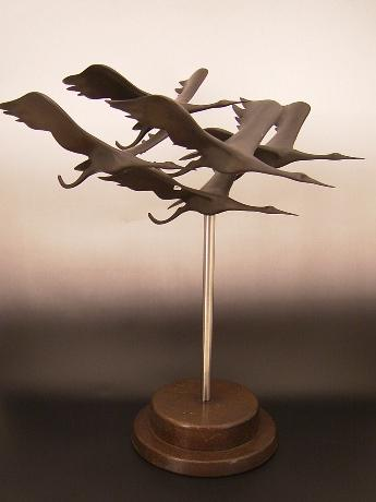 JAPANESE MID 20TH CENTURY BRONZE SCULPTURE OF FLYING CRANES<br><font color=red><b>SOLD</b></font>