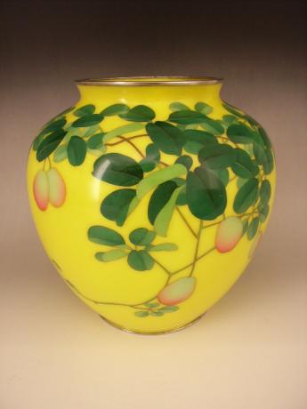 JAPANESE EARLY 20TH CENTURY ANDO CLOISONNE VASE WITH AKEBI FRUIT DESIGN<br><font color=red><b>SOLD</b></font>