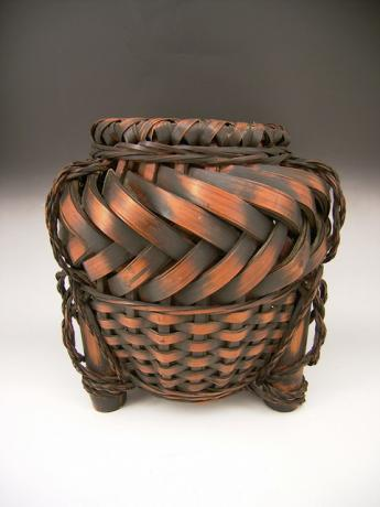 JAPANESE EARLY 20TH CENTURY BAMBOO FLOWER BASKET<br><font color=red><b>SOLD</b></font>