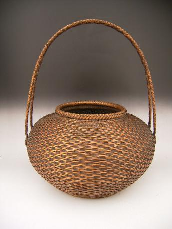 JAPANESE EARLY 20TH CENTURY BAMBOO FLOWER BASKET AND HANDLE<br><font color=red><b>SOLD</b></font>