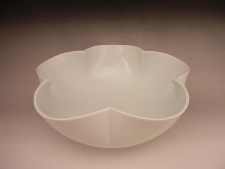 JAPAN 21ST CENTURY WHITE CELADON PLUM BLOSSOM SHAPED BOWL<br><font color=red><b>SOLD</b></font>