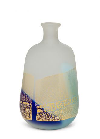 JAPANESE 20TH CENTURY ART GLASS VASE BY KYOUHEI FUJITA<br><font color=red><b>SOLD</b></font>