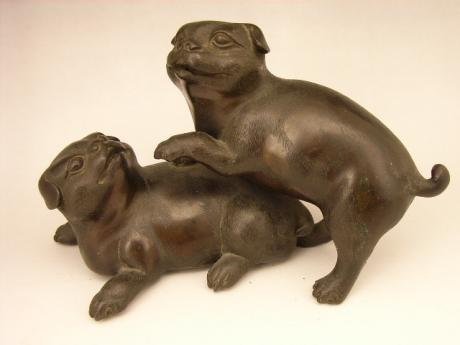 JAPANESE EDO PERIOD RED BRONZE PAIR OF PUPPY OKIMONO<br><font color=red><b>SOLD</b></font>