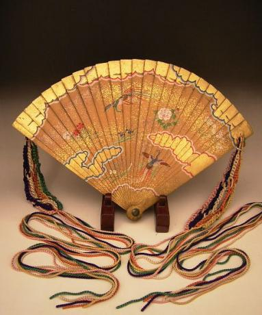 Japanese Edo Period Hand Painted Wooden Fan with Early 20th Century Silk Tassels<br><font color=red><b>SOLD</b></font>