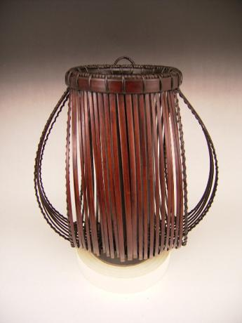 JAPANESE 20TH CENTURY HANGING BAMBOO FLOWER BASKET<br><font color=red><b>SOLD</b></font>