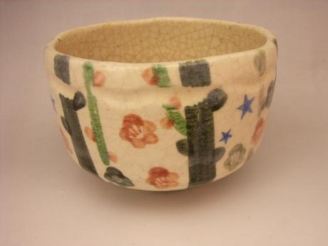JAPANESE 20TH CENTURY RAKU TEA BOWL<br><font color=red><b>SOLD</b></font>